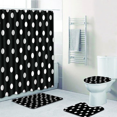 4PCS Non-Slip Mat Toilet Cover Shower Curtain Bathroom Set