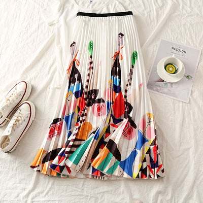 Cartoon Print  Pleated Women Skirts