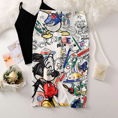 High Waist Cartoon Print Women Skirts