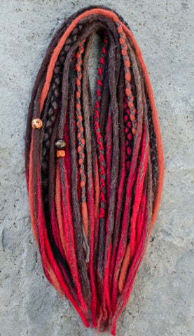 Wool Dreadlock Extensions, Cherry Ombre
