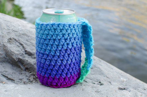 Crochet Coozie in Blue Ombre