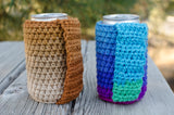 Crochet Cozie Set, Peanut Butter and Jelly Colors