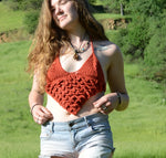 size XS Dragon Scale Sienna Crochet Halter Top