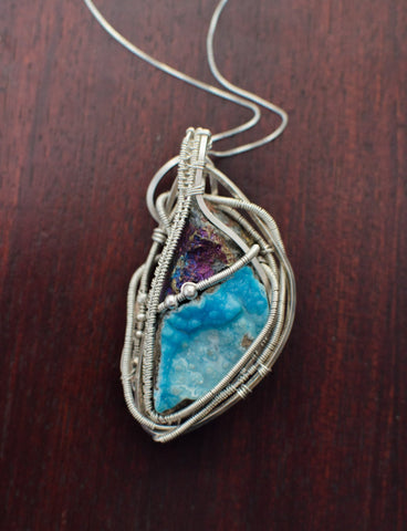 Hemimorphite  Wire Wrapped Pendant with Chalcopyrite and Sterling Silver
