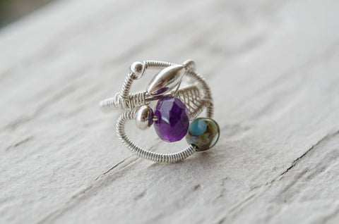 amethyst wire wrap ring