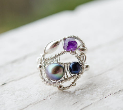 Wire Wrapped Ring with Sterling Silver, Fresh Water Pearls, and Amethyst