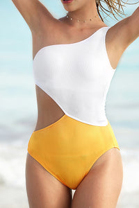 Bomshe A Shoulder Patchwork Yellow One-piece Swimsuit