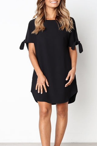 Bomshe Casual Round Neck Black Knee Length Dress