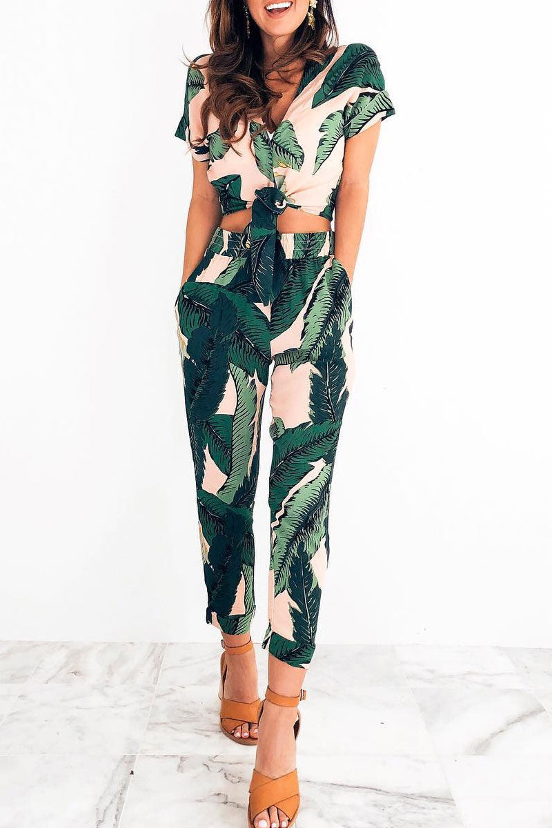 Bomshe High Waist Printed Two-piece Pants Set