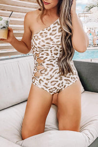 Bomshe One Shoulder Leopard Printed One-piece Swimsuit