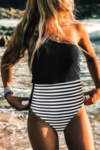 Bomshe One Shoulder Striped Patchwork Black One-piece Swimsuit