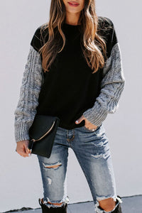 Bomshe Patchwork Black Sweater