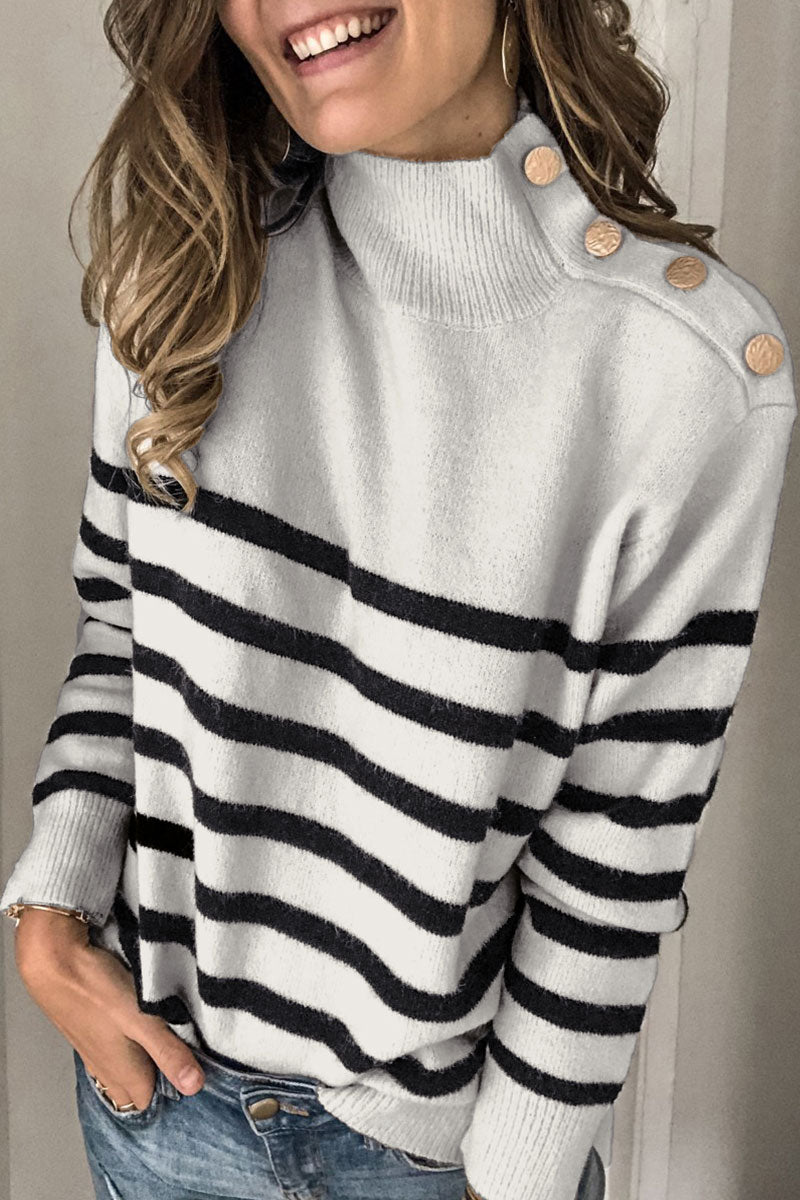 Bomshe Turtleneck Button Striped Sweater