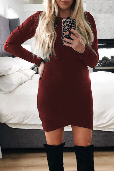 Bomshe O Neck Skinny Mini Dress(2 colors)