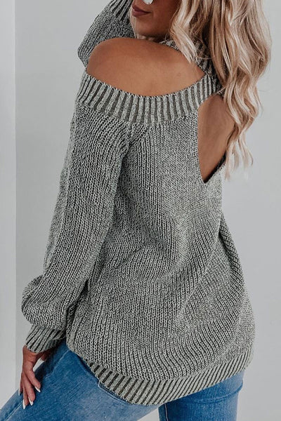 Bomshe O Neck Hollow-out Grey Sweater