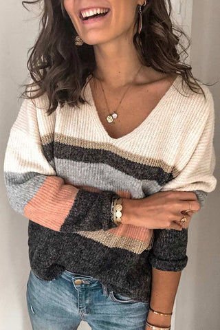 Bomshe Color-lump Patchwork White Sweater