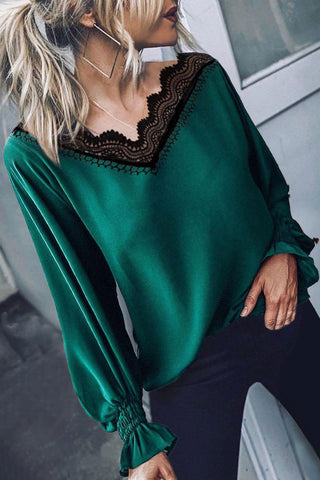 Bomshe V Neck Lace Patchwork Green Blouse