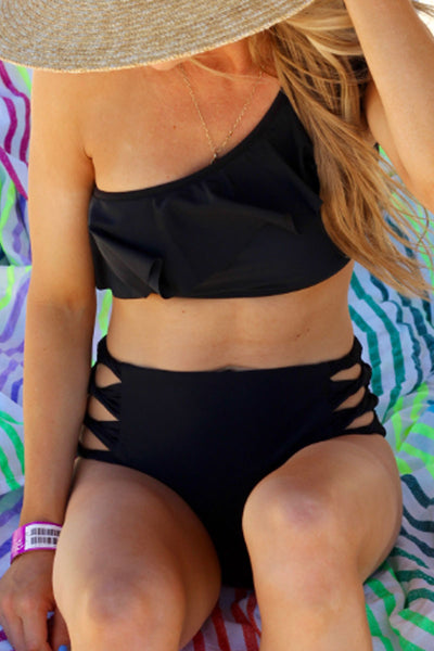 Bomshe One Shoulder Black Bikini Set