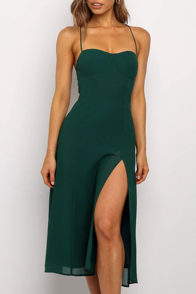 Bomshe Sleeveless Green Mid Calf Dress