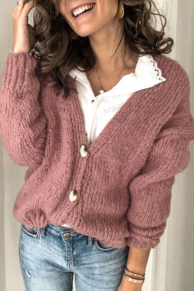 Bomshe Button Dusty Pink Cardigan