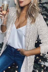 Bomshe Sequin Silver Blazer(2 colors)
