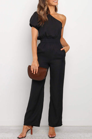 Bomshe One Shoulder Black One-piece Jumpsuit