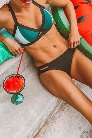 Bomshe Patchwork Green Bikini Set