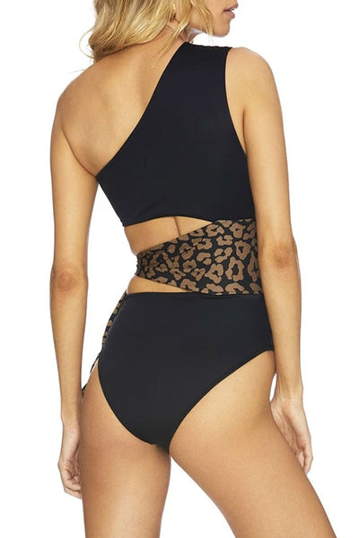 Bomshe Hollow-out Black One-piece Swimsuit