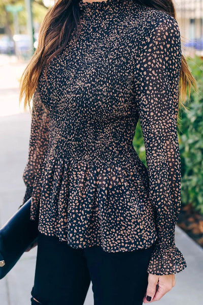 Bomshe Dot Print Black Blouse