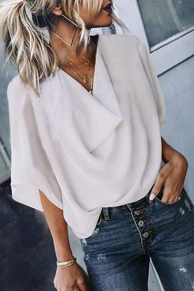 Bomshe V Neck White Blouse