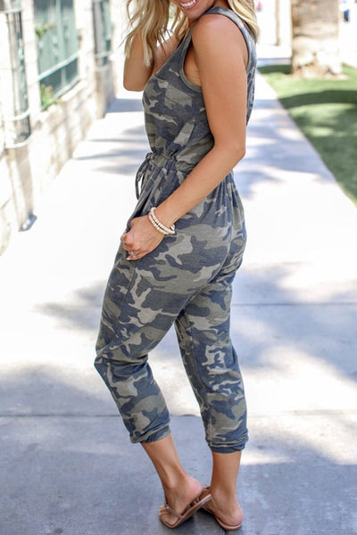 Bomshe Camo Print One-piece Jumpsuit