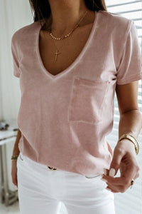 Bomshe V Neck Pocket Patched Light Pink T-shirt