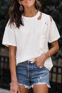 Bomshe Hollow-out White T-shirt