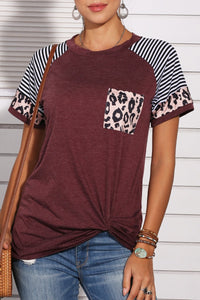 Bomshe Patchwork Wine Red T-shirt