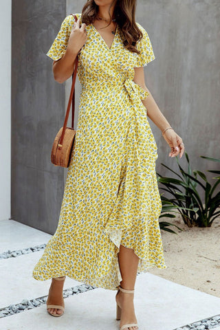 Bomshe Floral Print Yellow Ankle Length Dress