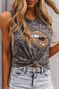 Bomshe Lip Print Grey Camisole(3 Colors)