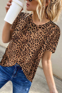 Bomshe Leopard Print Brown T-shirt