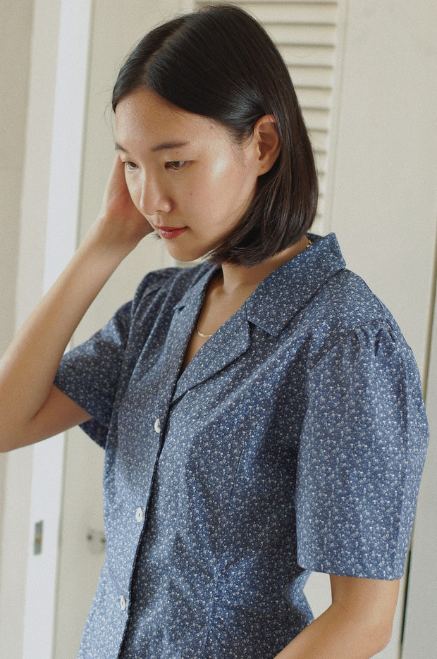Not Long Ago Shirt in navy ditsy - Dear Samfu