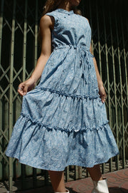 Little Sister Cheongsam Dress in blue swirl - Dear Samfu