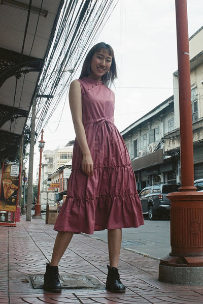 Little Sister Cheongsam Dress in true pink - Dear Samfu