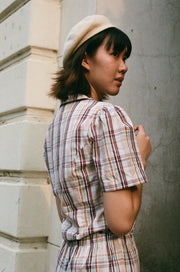 Not Long Ago Shirt in brown check - Dear Samfu