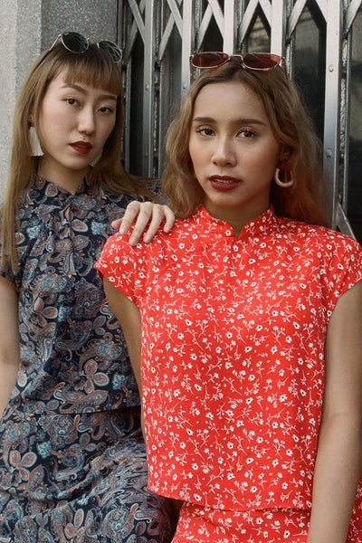 Big Sister Cheongsam Top in red blossom - Dear Samfu
