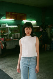 Nowadays Crop Top in white dotted - Dear Samfu