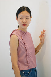 Nowadays Crop Top in red micro-gingham - Dear Samfu