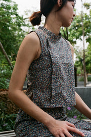samfu top floral ruffle collar crop cotton sustainable