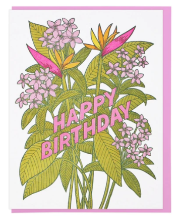 Tropical Flowers Happy Birthday Card