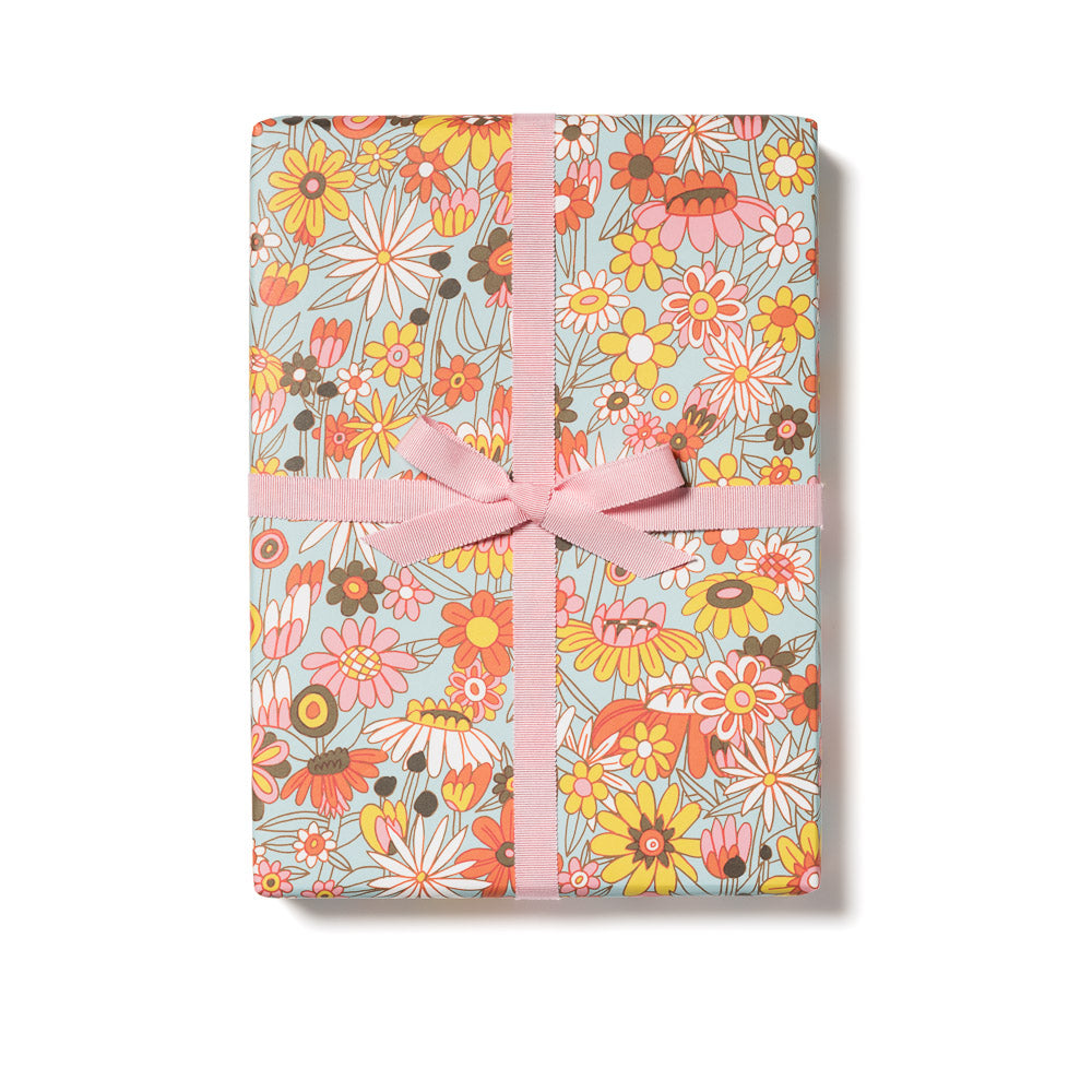 Groovy Bloom Wrapping Paper Sheets