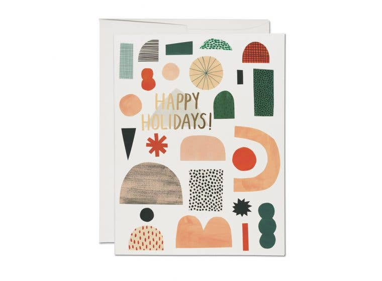 Happy Holidays Shapes Card
