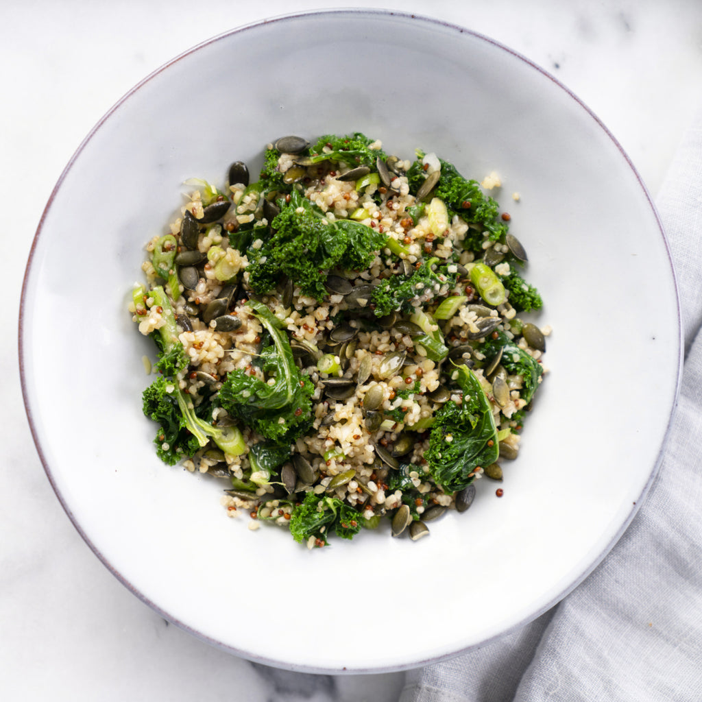 Mixed Quinoa and Kale with Pumpkin Seeds