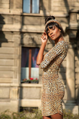 Bio Dress One Shoulder Leopardo